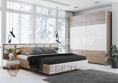 """Модульная спальня """"Лагуна 8"""" Гикори Темный / Белый"""