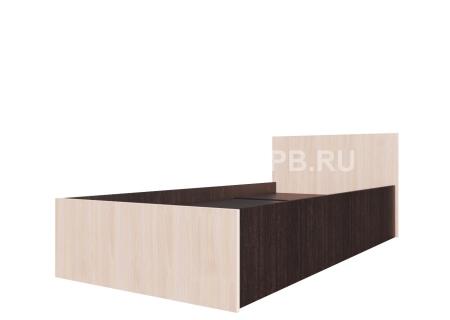 Кровать одинарная (Без матраца 0,9*2,0) Дуб Млечный / Дуб Венге
