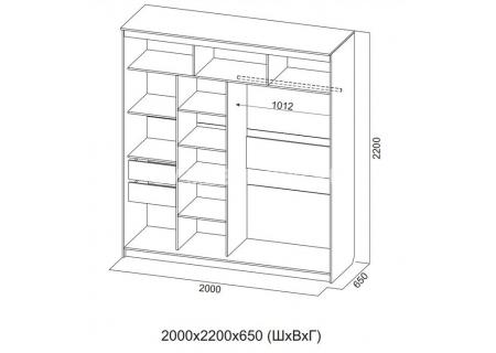 Шкаф-купе №19 (2,0м) Инфинити схема
