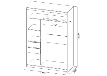 Шкаф-купе №19 (1,7м) Инфинити  схема
